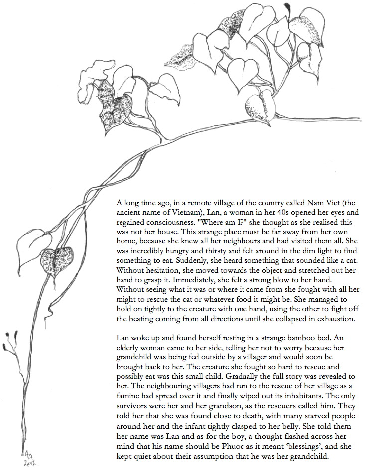 Sweet potato vine drawing and story